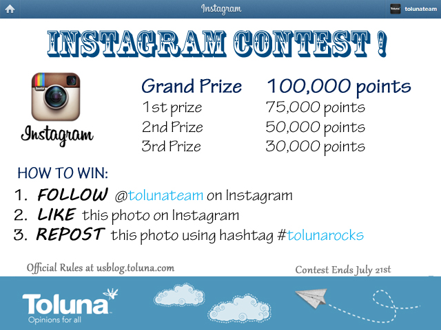how to pick a winner for instagram giveaway instagram contest win up to 100 000 points toluna 1241